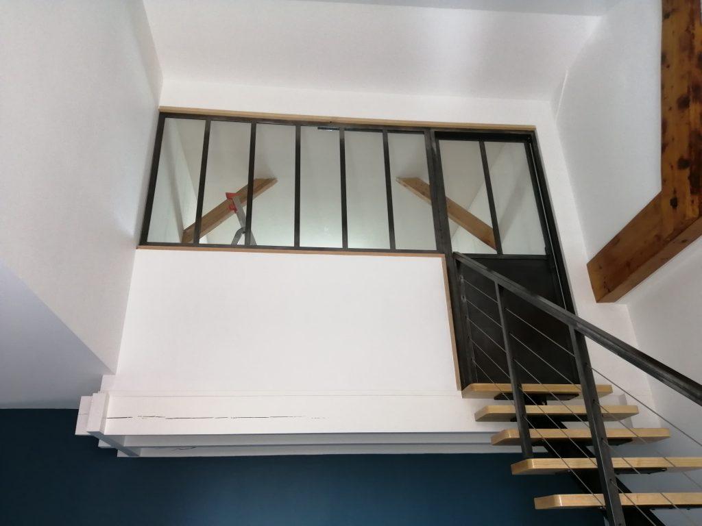 Verrière de mezzanine en acier ciré